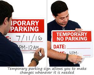 Temporary no parking sign