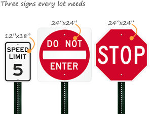 Parking lot traffic signs