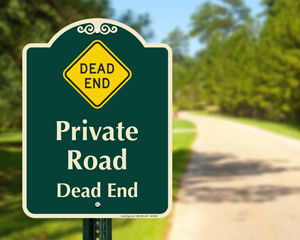 Traffic signs for private drive