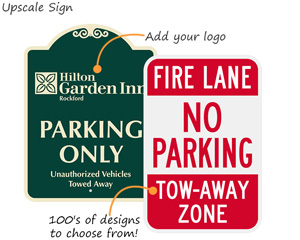 Unauthorized vehicles towed away signs