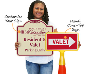 Valet parking information and direction signs