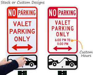 Valet parking signs