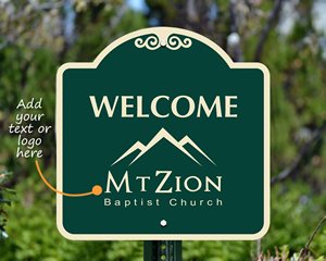 Visitor welcome sign