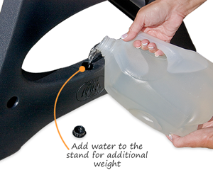Add water to the stand for additional weight