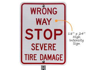 Wrong way tire damage sign