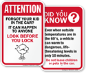 Child Left In Hot Car Signs