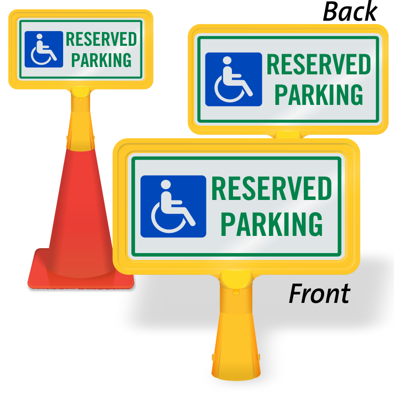 Handicapped Reserved Parking ConeBoss Sign