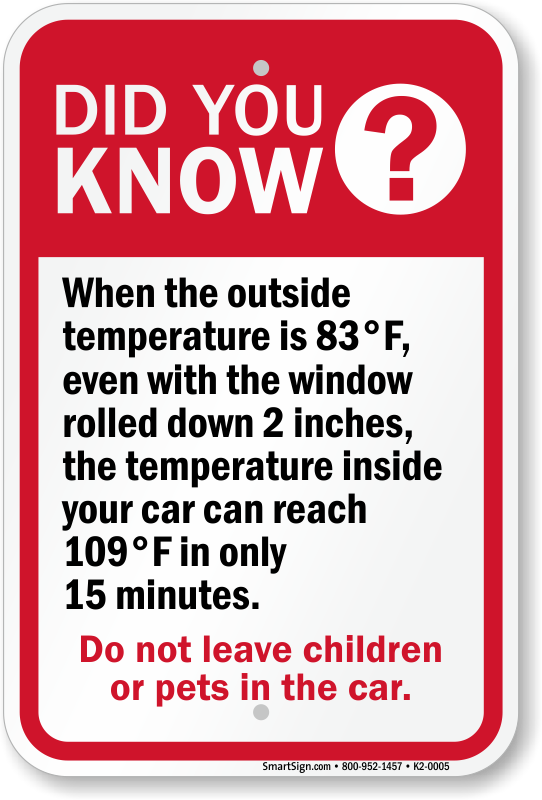 Child Left in Car Warning Signs Kids in Hot Cars