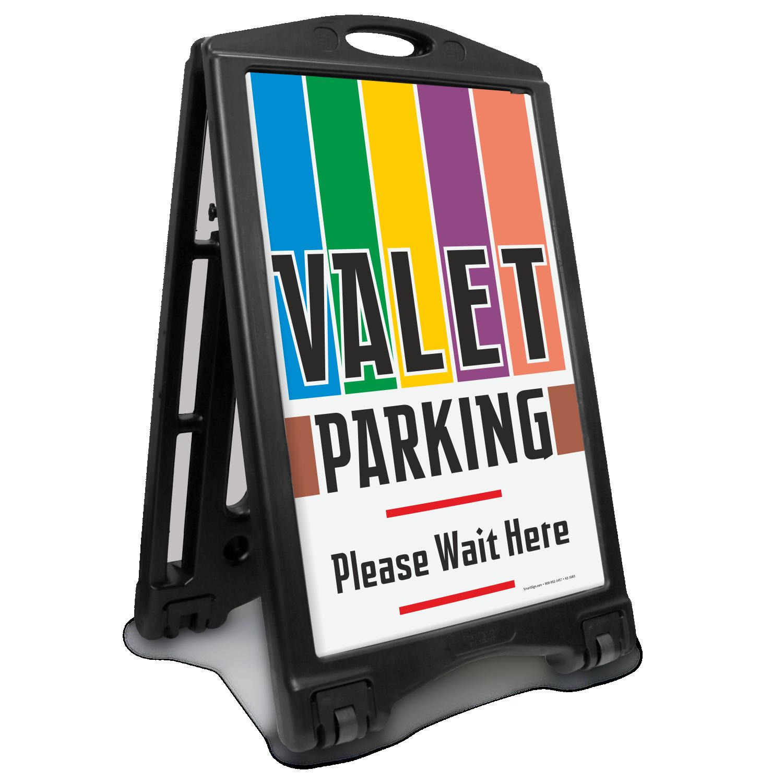 Valet Parking Please Wait Here Sidewalk Sign