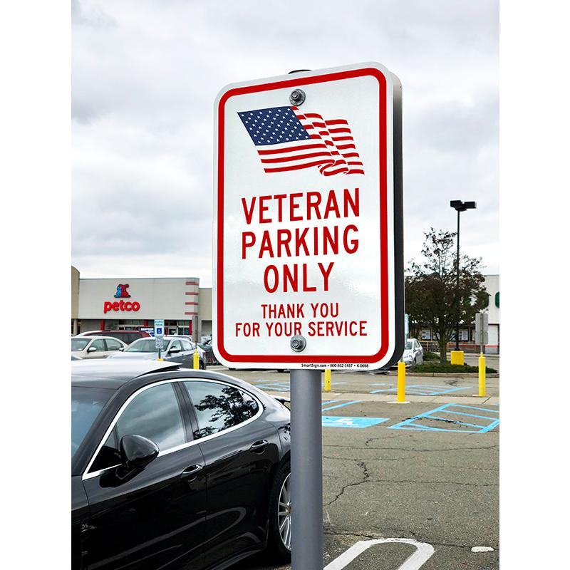 Veteran Parking Only, Thank You Sign | USA Flag Symbol, SKU