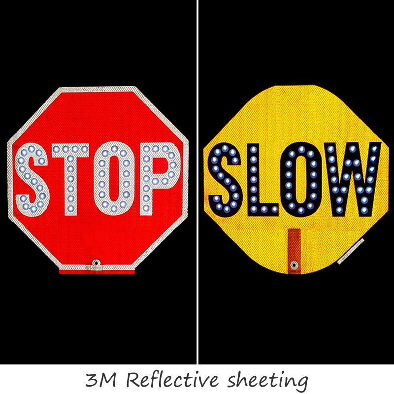 Stop Slow 2 Sided Led Sign With Rechargeable Battery Sku