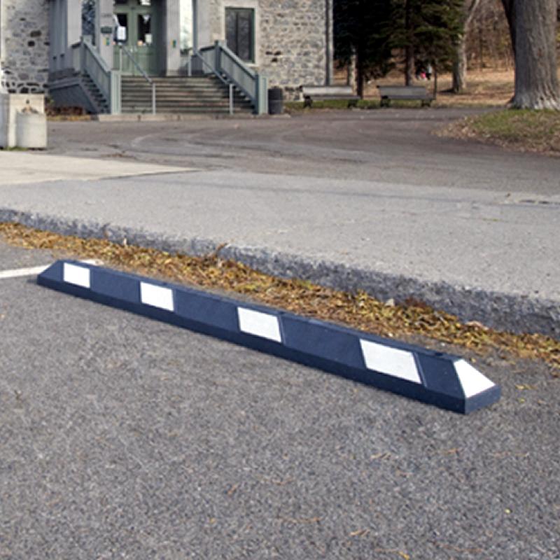 ADA Parking Wheel Rubber Stop Reflective White Strips