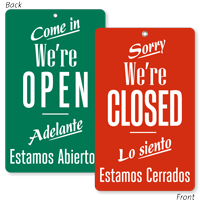 Come In We Are Open Bilingual Be Back Sign
