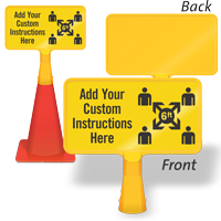 Add Your Custom Social Distancing Instructions ConeBoss Sign