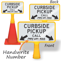 Curbside Pickup Write-On Double-Sided Coneboss Sign