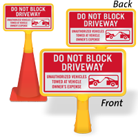 Do Not Block Driveway ConeBoss Sign
