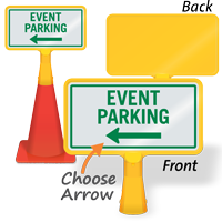 Event Parking Left Arrow ConeBoss Sign