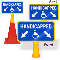 Handicapped Parking Arrow ConeBoss Sign