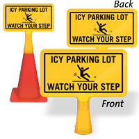 Icy Parking Lot ConeBoss Sign