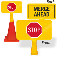 Merge Ahead Stop ConeBoss Sign