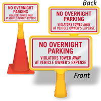 No Overnight Parking ConeBoss Sign