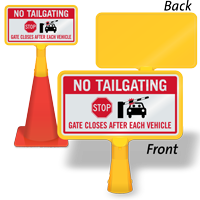 No Tailgating ConeBoss Sign