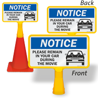 NOTICE: Please Remain in Your Car During the Movie FloorBoss Sign