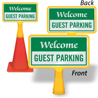 Welcome Guest Parking ConeBoss Sign