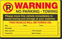 Warning Move Vehicle Avoid Towing Sticker