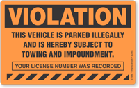 Violation Vehicle Parked Illegally Towing Sticker