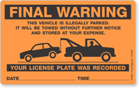 Final Warning Illegally Parked Towed Sticker