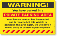 Warning Private Parking Area Sticker