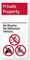 Private Property No Bicycles Motorized Vehicles iParking Sign