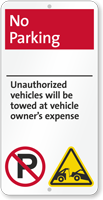 No Parking, Unauthorized Vehicles Towed iParking Sign
