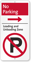 No Parking, Unloading Zone iParking Sign, Right