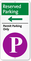 Reserved Permit Parking On Left iParking Sign