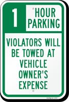 1 Hour Parking Sign