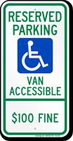 North Dakota Reserved Parking, Van Accessible Sign
