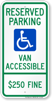 Illinois Reserved Parking, Van Accessible Sign