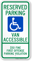 Alabama Reserved ADA Parking, Van Accessible Sign