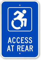 Access At Rear Sign (with Graphic)