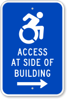Access At Side Of Building Sign (Right Arrow)