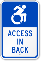 Access In Back Sign (with Graphic)