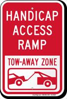 Access Ramp Tow Away Zone Handicap Sign