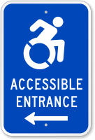 Accessible Entrance Sign (with Left Arrow)(with Graphic)
