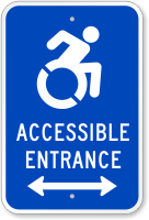 Accessible Entrance Sign (Bidirectional Arrow)(with Graphic)