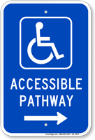 Accessible Pathway Sign, Wheelchair & Right Arrow Symbol