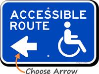 Accessible Route Left Arrow Sign
