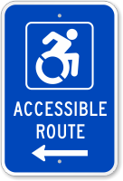 Accessible Route Sign (with Left Arrow) (with Graphic)
