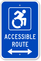 Accessible Route Sign (Bidirectional Arrow) (with Graphic)